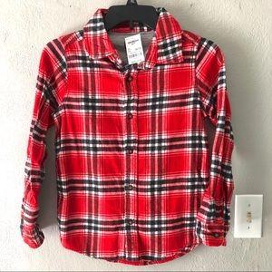 NWT OshKosh Plaid Long Sleeve Flannel Sz 10/12